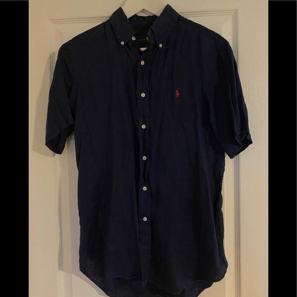 Navy Ralph Lauren Short Sleeve Button Down Shirt